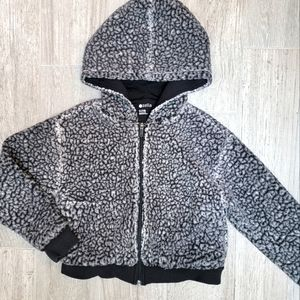 3/$15 Zella Black Fuzzy Faux Fur Zip-up Hoodie S 7/8